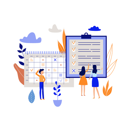 Workflow planning concept with people recording and marking tasks and goals in large schedule isolated on white background - flat vector illustration of time management and organizing. Çizim