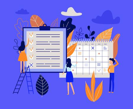 Planning en tijdbeheerconcept met mensen die het werkproces organiseren en voltooide taken in lijst noteren - lat-karakters dichtbij grote kalender en planner in geïsoleerde vectorillustratie.