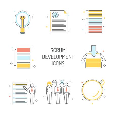 Conjunto de iconos de desarrollo Scrum: metodología ágil para gestionar proyectos. Símbolos de línea del trabajo en equipo para lograr el objetivo comercial con planificación visual en una ilustración vectorial aislada.
