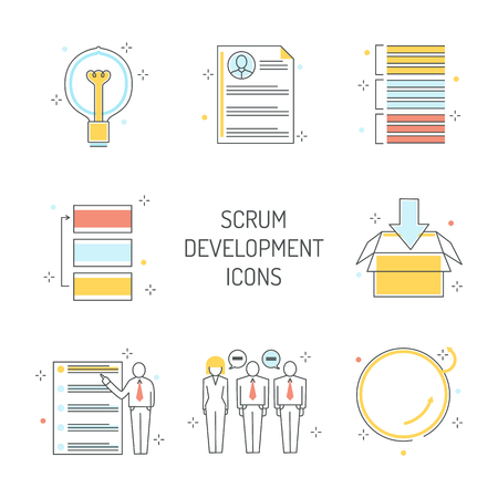 Scrum development icons set - agile methodology to manage project. Line symbols of team work on achieving of business goal with visual planning in isolated vector illustration.