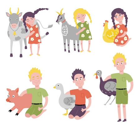 Platte tienermeisjes, jongens die tamme vogels knuffelen, huisdieren die op de knieën zitten, samen staan. Vrouwelijk, mannelijk kind karakter emracing schattige grappige dieren kippen, koe biggen en gans. Vector illustratie