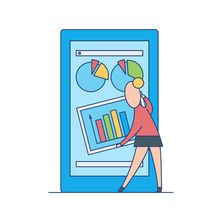 Mobile applications concept. Woman avatar standing near digital device screen with marketing, economical and financial charts, graph and diagrams app. Vector flat illustration.