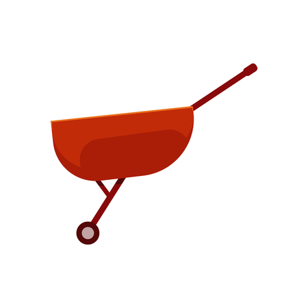 Empty red wheelbarrow cart - symbol of farm gardening equipment for carriage of cargoes in flat style isolated on white background. Vector illustration of handle agricultural tool. Illustration