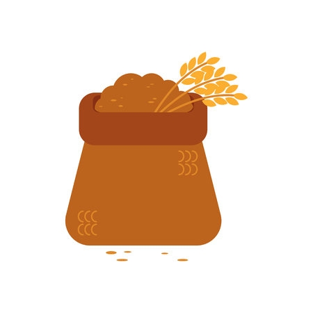 Opened canvas sack full of grain - symbol of textile bag filled with bulk materials and wheat ears. Farming stuff with crop in vector illustration isolated on white background. Illustration