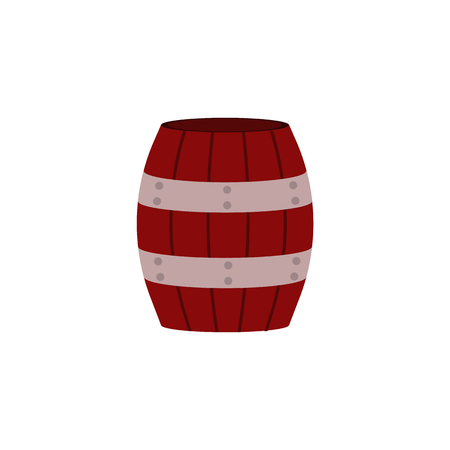 Red wooden barrel with metal hoops for storage of liquids or bulk materials isolated on white background. Container for farming and wine-making in flat vector illustration.  イラスト・ベクター素材
