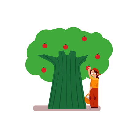 Young woman farmer gathering ripe apples from tree isolated on white background - female character with red mature fruits for eco-friendly and organic concept in flat vector illustration. Illustration