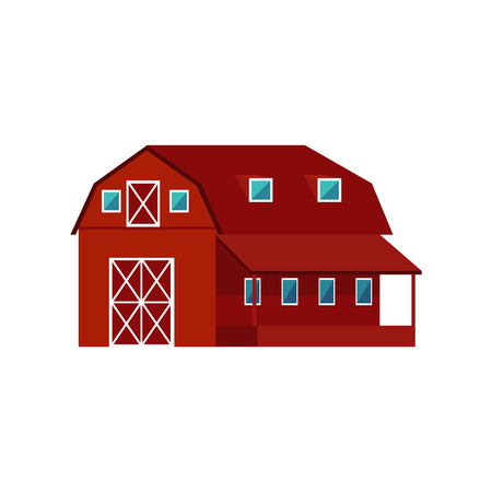 Red wooden farm barn - agricultural building for livestock or equipment in flat style isolated on white background. Colorful vector illustration of rustic warehouse exterior.