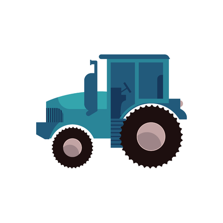 Blue agricultural tractor isolated on white background. Farm transportation for work on plantation in flat cartoon style - vector illustration of village wheeled equipment.