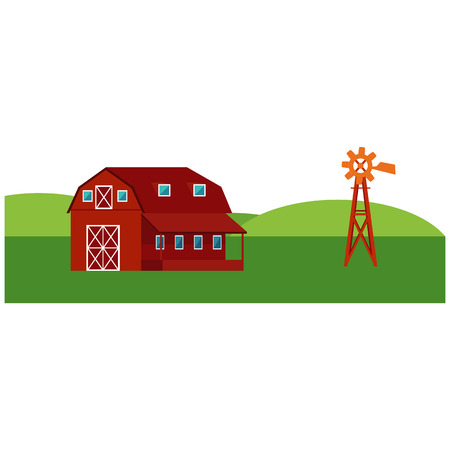 Red farm barn with windmill - countryside landscape with green hills and fields isolated on white background. Horizontal banner with rural skyline in flat vector illustration. Illustration