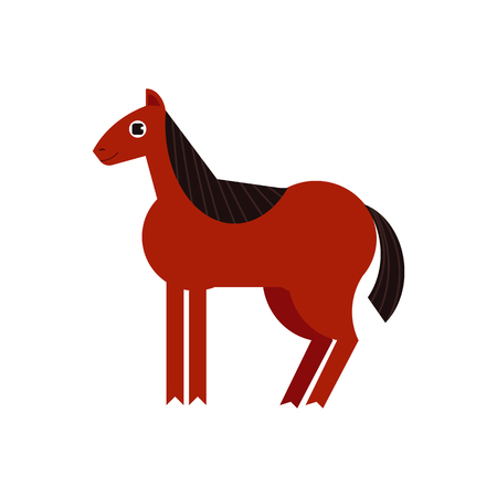 Bay horse full length illustration isolated on white background. Cute farm animal side view in flat vector - domestic brown horse with black mane standing sideways. Illustration