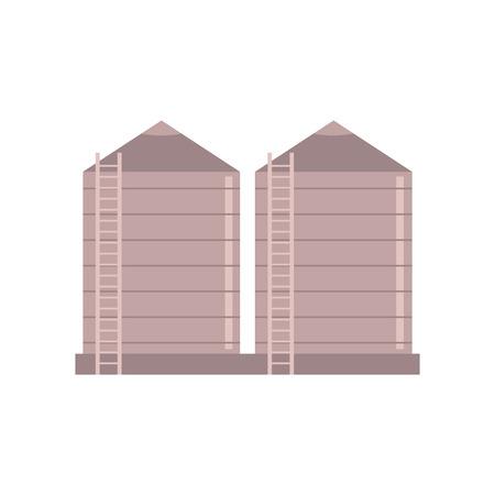 Construction d'une ferme de grenier - illustration vectorielle de la tour du village pour stocker des matériaux en vrac et un silo isolé sur fond blanc. Entrepôt agricole pour le grain dans le style plat. Vecteurs
