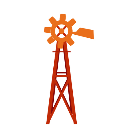 Traditional farm windmill turbine technology isolated on white background - classic vintage equipment of wind-powered water pump for agriculture in flat vector illustration.