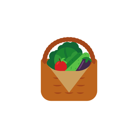 Fresh ripe vegetables in wicker basket isolated on white background - farm harvest of vegetarian healthy food for eco-friendly organic concept in flat vector illustration.