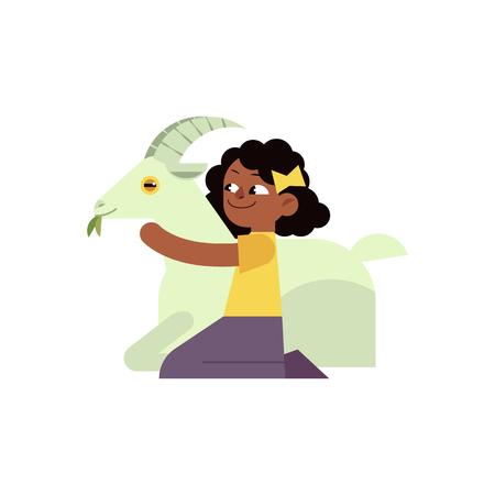 Kid girl hugging horned goat with love - flat cartoon character of african child embracing domestic farm animal isolated on white background. Vector illustration of caring for rural animals.