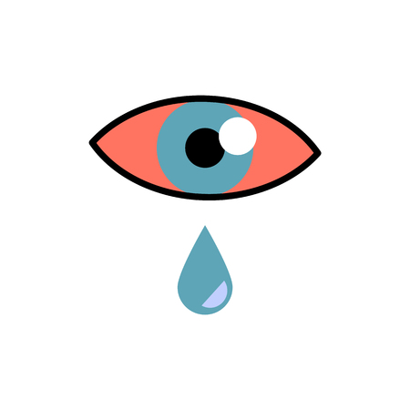 Conjunctivitis concept with red eye and lacrimation - symptom of swelling of conjunctiva or allergy in flat vector illustration. Pink eye with tear drop isolated on white background.