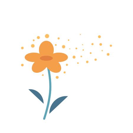 Gelbe Blume, die Pollen in der Atmosphäre produziert, die auf weißem Hintergrund lokalisiert wird. Feines Pulver, das aus Staubgefäßen der Pflanze kommt und in der Luft fliegt - Ursache von Allergiereaktionen in flacher Vektorgrafik. Vektorgrafik