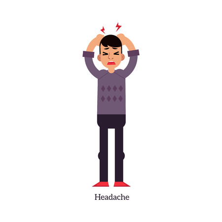 Young man having headache and holding his head with hands because of pain isolated on white background. Sick male cartoon character with symptom of disease or stress in flat vector illustration.