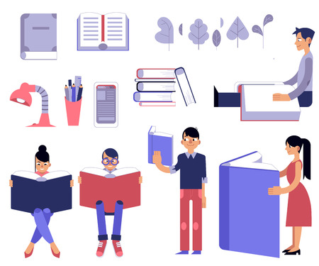Education process set. Male and female flat cartoon characters with open books reading and studying isolated on white background - students and school supplies in vector illustration. Illustration