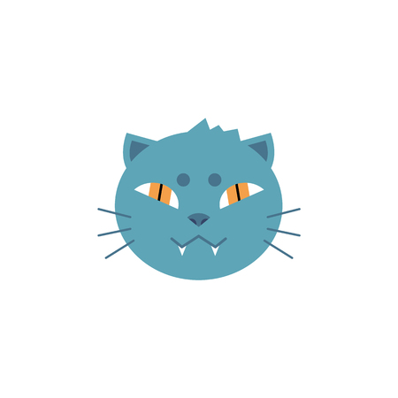Domestic cat head with gray fur and toothy smile in flat style isolated on white background. House animal symbol - cute fluffy pet with orange eyes in vector illustration.