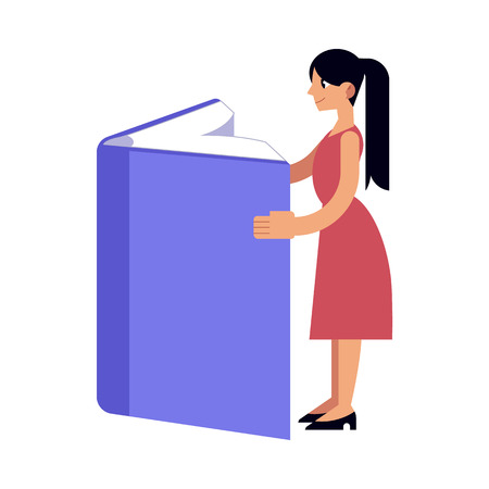 Young girl studying with reading large book isolated on white background. Flat female character standing with open big book for back to school and education concept in vector illustration.