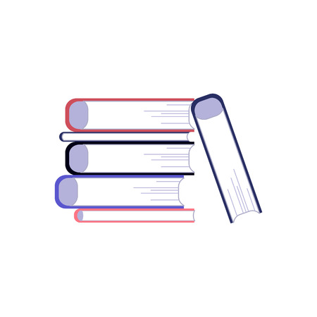 Stack of paper books with hardcover lying on some surface isolated on white background. Reading flat element of education or literary leisure concept in vector illustration. Vektoros illusztráció
