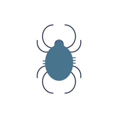 Dust mite symbol - trigger of year-round allergy and asthma in flat style isolated on white background. Pictogram of small dangerous arthropod animal in vector illustration.