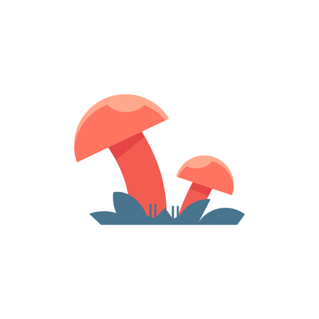Red mushrooms on grass - symbol of toadstool with stem and cap growing in forest isolated on white background. Natural fresh raw food ingredient in flat vector illustration. Illusztráció