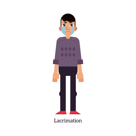 Young man with increased lacrimation - symptom of disease or allergy isolated on white background. Sick male cartoon character with tearing eyes in flat vector illustration.