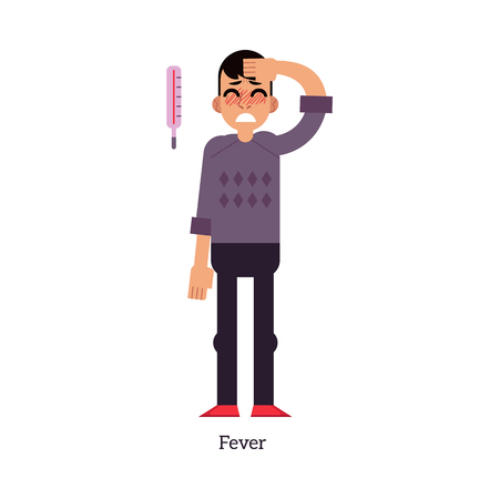 Young man with fever - symptom of unhealthy body condition isolated on white background. Sick male cartoon character having increase body temperature with thermometer in flat vector illustration. Çizim