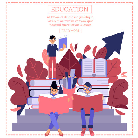 Education process with young students sitting and standing on pile of big books and reading with interest isolated on white background. Flat cartoon vector illustration of back to school concept.