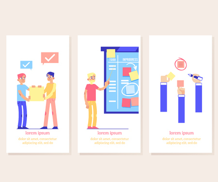 Scrum board proccess - agile methodology to manage project on vertical banners in flat style. Team work on achieving of business goal with visual planning in flat vector illustration.