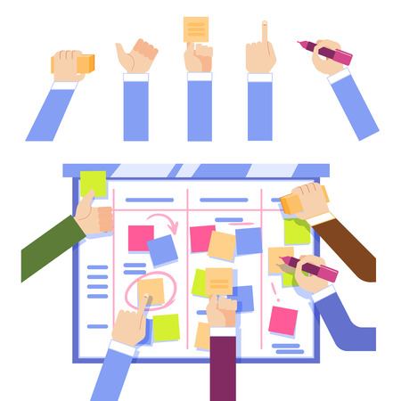 Scrum task board concept with human hands sticking colorful papers and writing on board isolated on white background - managing business project in flat vector illustration.