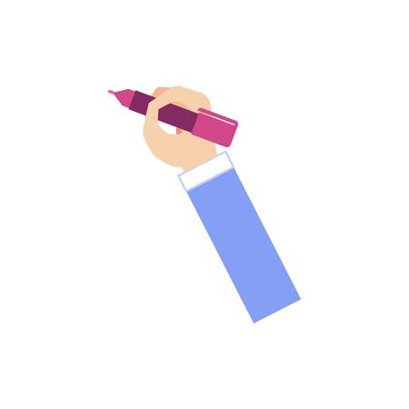Main de l'homme en costume d'affaires tenant un marqueur pour écrire une note ou un rappel isolé sur fond blanc - poignet d'homme d'affaires faisant mémo en illustration vectorielle plane.