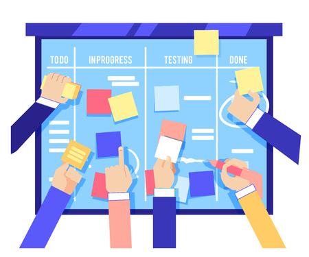흰색 배경에 격리된 파란색 보드에 다채로운 종이를 붙이고 작업을 작성하는 인간의 손으로 스크럼 보드 개념. 평면 벡터 일러스트 레이 션에서 비즈니스 프로젝트를 관리하는 민첩한 방법론.
