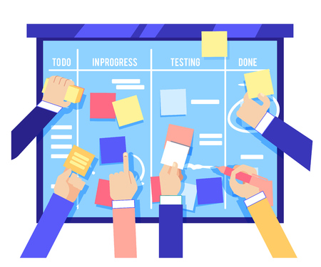 Scrum board concept with human hands sticking colorful papers and writing tasks on blue board isolated on white background. Agile methodology to manage business project in flat vector illustration. Vettoriali