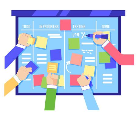 Koncepcja deski Scrum z ludzkimi rękami przyklejającymi kolorowe papiery i pisaniem zadań na niebieskiej tablicy na białym tle - zwinna metodologia zarządzania projektem biznesowym w płaskiej ilustracji wektorowych. Ilustracje wektorowe