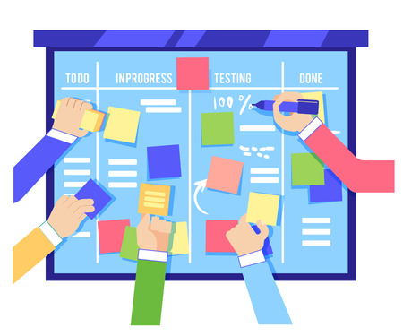 Scrum board concept with human hands sticking colorful papers and writing tasks on blue board isolated on white background - agile methodology to manage business project in flat vector illustration. Vettoriali