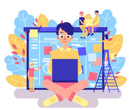 Scrum-Board-Konzept mit jungem Mann, der mit Laptop gegen großen agilen Veranstalter mit klebrigen bunten Papieren arbeitet. Methodik zur Verwaltung von Geschäftsprojekten in isolierter flacher Vektorillustration.