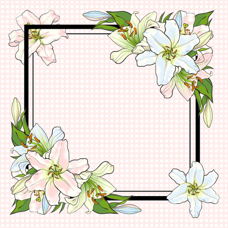 White lilies bouquet elements in sketch style at corners of square shape with copy space - vector illustration of pastel colored blooms with green leaves for greeting card or invitation. Иллюстрация