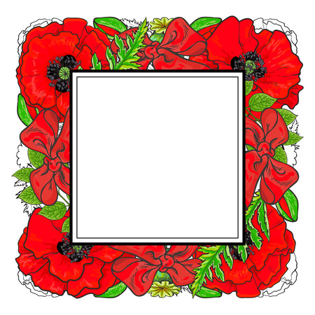 Red poppies with green leaves in floral composition in square form with sticker on top for text area isolated on white background in sketch style. Hand drawn natural frame in vector illustration.