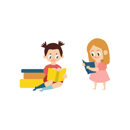 Vector flat small teen girls female school character sitting at big book pile heap another standing reading textbook smiling. Preschool child student, education concept Isolated illustration