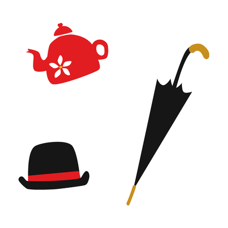 vector flat british gentleman symbols icon set. English tea in ceramit teapot, hat and rain umbrella walking stick. Isolated illustration on a white background.
