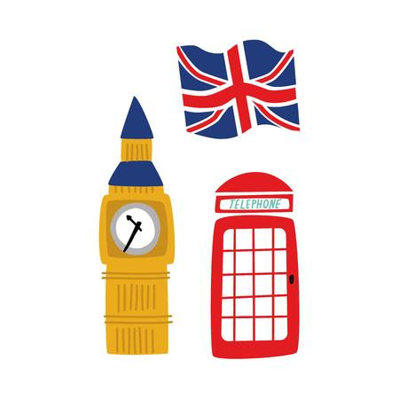 vector flat United kingdom, great britain symbols set. British flag union jack, phone booth Big Ban Tower of London icon. Isolated illustration on a white background