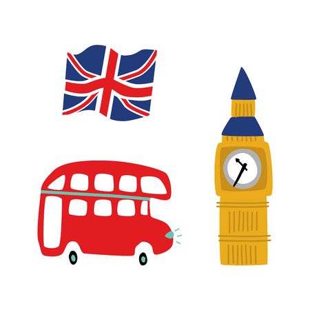 vector flat United kingdom, great britain symbols set. British flag union jack, double decker bus and Big Ban Tower of London icon. Isolated illustration on a white background