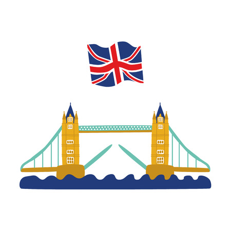 vector flat Tower Bridge of London, union jack flag icon. United kingdom, great britain, national english traditional symbol, architecture landmark building. Isolated illustration on white background