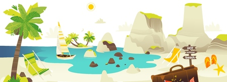 Tropic palm beach with rocks, yacht, sun chairs and clouds in sky, summer vacation horizontal banner, flat cartoon vector illustration. Beach scene with sea, ocean coast, yacht and lounge chairs Ilustrace