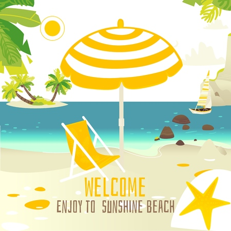 Tropic palm beach banner, card design with rocks, yacht, sun chair and place for text, summer vacation concept, flat cartoon vector illustration. Square banner with sunny ocean beach vacation scene