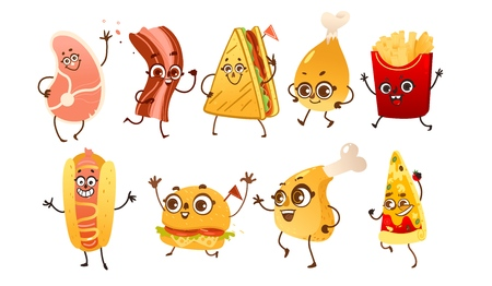 Set of funny fast food characters - burger, hot dog, steak, bacon, pizza, French fries, sandwich and chicken leg, cartoon vector illustration isolated on white background. Funny fast food characters Illustration