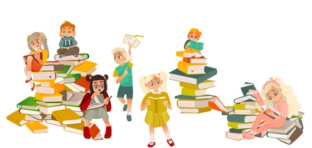 Set of kids, boys, girls, reading, standing and sitting on piles of books, flat cartoon vector illustration isolated on white background. Set of kids sitting on piles of books, reading with interest