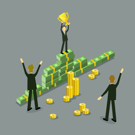 Vector flat businessman success, achievement and profit concept. Man in formal clothing standing at banknote cash dollar money winner podium holding golden trophy, other business people approve Ilustrace
